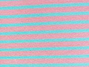 Ringelbündchen, Feinripp - rosa/hellblau