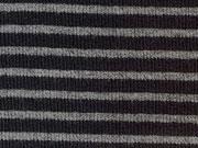 RESTSTÜCK 14 cm Ringelbündchen, Feinripp - schwarz/grau melange
