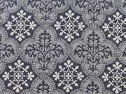 RESTSTÜCK 36 cm Stretchjeans graphische Ornamente-dunkelblau