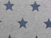 Sweat Jogging Stars - jeansblau auf grau melange
