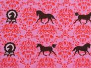 Reststück 72cm Sweat Lian Pferde & Rosetten - braun auf pink