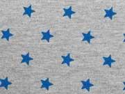 Sweat Sterne 1 cm, royalblau auf grau melange