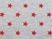 RESTSTÜCK 115 cm Sweatstoff Sterne 1 cm, rot auf grau melange