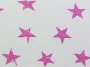 RESTSTÜCK 28 cm Sweat Sterne 3,5 cm, hellpink auf weiss