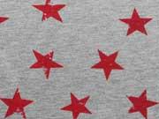 Sweat Sterne 3,5 cm , rot auf grau melange