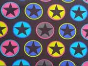 RESTSTÜCK 40 cm Sweat Sterne im Kreis - pink bunt auf schlamm