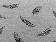 Sweatstoff Federn - schwarz auf grau melange