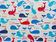 Baumwolle Wale Timeless Treasures, blau/rot auf weiss
