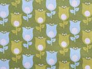 Tulpen-hellblau auf hellgrün