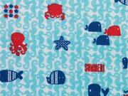 Baumwollstoff maritime Motive Underwater Life - hellblau