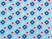 Baumwollstoff Rauten - hellblau blau