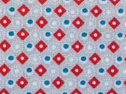 Baumwollstoff Rauten - grau rot