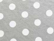 Viskose Jersey Punkte 1,3cm- hellgrau/weiss