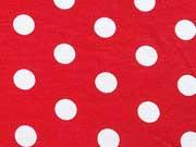 Viskose Jersey Punkte 1,3cm- rot/weiss