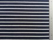 Italienischer Viskose Jersey Allegra Streifen, navy-weiß