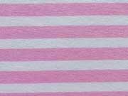 Reststück 55cm Viskose Jersey Streifen 0,8cm - rosa/weiß
