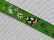 Webband 2cm Tiere vom Bauernhof, grasgrün