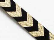 Webband Chevron Zickzack, schwarz-gold