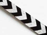 Webband Chevron Zickzack, schwarz-silber