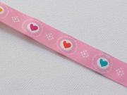 Webband 2cm Herzen, bunt auf rosa