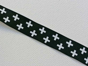 Webband 2cm Kreuze, weiss auf schwarz