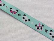 Webband 2cm Panda Gesichter, mint