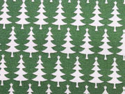 Baumwollstoff Weihnachtsbäume mit Stern, grasgrün