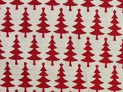 Baumwollstoff Weihnachtsbäume mit Stern, rot cremeweiß