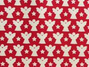 Baumwollstoff Sterne Engel, cremeweiß rot
