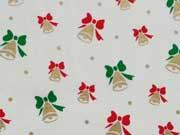 Baumwollstoff Weihnachtsglocken, cremeweiss