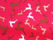 RESTSTÜCK 48 cm Baumwollstoff Weihnachtshirsche Rentiere, rot