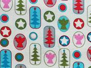 Baumwollstoff Engel Sterne Weihnachtsbäume, cremeweiß