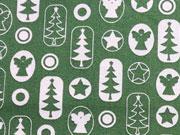 Baumwollstoff Engel Sterne Weihnachtsbäume, grasgrün