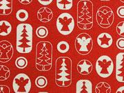 Baumwollstoff Engel Sterne Weihnachtsbäume, rot