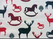 RESTSTÜCK 47 cm Baumwollstoff weihnachtliche Hirsche & Schaukelpferde, cremeweiss