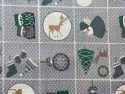 Baumwollstoff Weihnachtsmotive im Quadrat, grau gepunktet