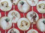 Baumwollstoff Weihnachtskugeln Retrolook, gold auf rot