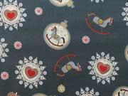 BW Weihnachtskugeln & Schaukelpferde- grau