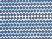 RESTSTÜCK 20 cm Baumwollstoff Zickzack Muster hellblau/dunkelgrau/weiß