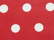 beschichtete Baumwolle Punkte 1,6cm, weiß auf rot