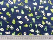 RESTSTÜCK 39 cm beschichtete Baumwolle Birnen & Blumen, grün dunkelblau