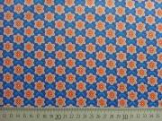 RESTSTÜCK 40 cm Beschichteter Baumwollstoff mini Blumen, orange blau