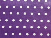 beschichtete Baumwolle Leona, Punkte weiß auf dunkellila