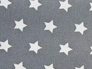 RESTSTÜCK 14,5 cm beschichtete Baumwolle Sterne 1 cm weiss auf dunkelgrau