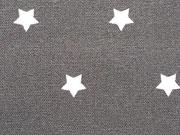 RESTSTÜCK 60 cm beschichtete BW weisse Sterne 1 cm auf dunkelgrau