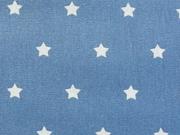 RESTSTÜCK 66 cm beschichtete BW Luna,Sterne 1cm weiß auf jeansblau