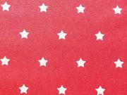 beschichtete Baumwolle Luna, Sterne 1cn weiß auf rot