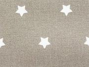 beschichtete BW weisse Sterne 1 cm auf taupe