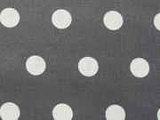beschichtete Baumwolle Punkte 1,6cm, weiß auf dunkelgrau
