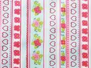 beschichtete Baumwolle Herzen Blumen Bordüre, helltuerkis